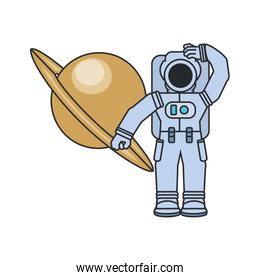 astronaut suit with planet saturn isolated icon