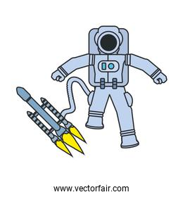 astronaut suit with satellite and hose isolated icon