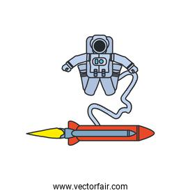 astronaut suit with hose and rocket isolated icon