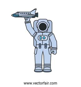 astronaut suit with space shuttle isolated icon