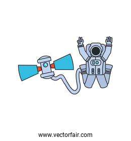 astronaut suit with hose and satellite isolated icon