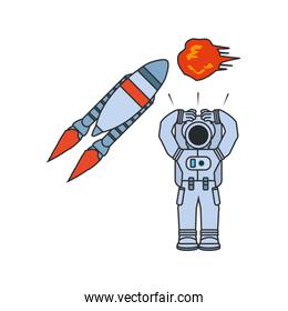 astronaut suit with rocket and explosion isolated icon