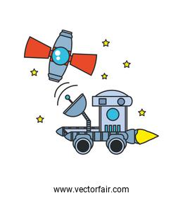 space explorer car with satellite and stars