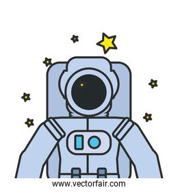astronaut suit with set of stars isolated icon