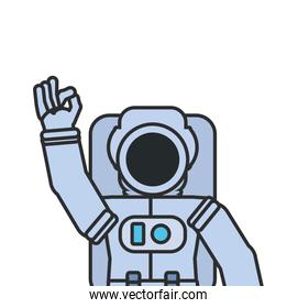 astronaut suit greeting isolated icon