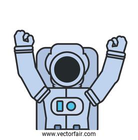 astronaut suit with hands up isolated icon