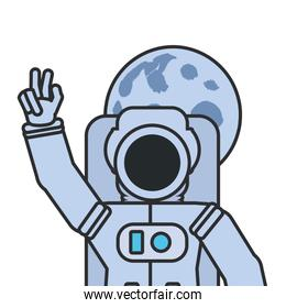 astronaut suit greeting with moon isolated icon