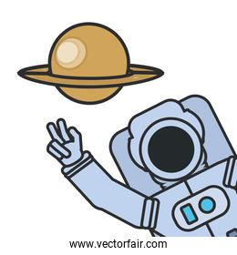 astronaut suit greeting with planet saturn