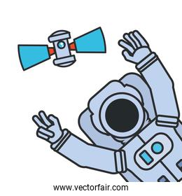 astronaut suit with hands up and satellite isolated icon