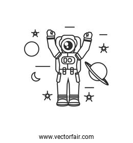 astronaut suit with hands up and set icons