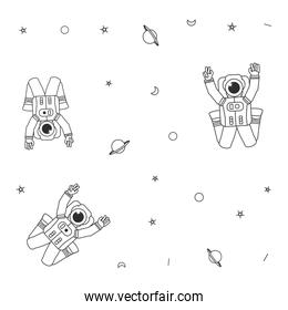 pattern of astronauts suits with planet saturn and stars
