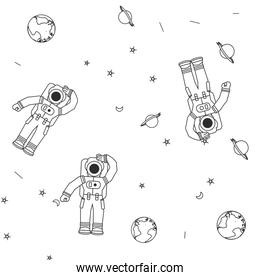 pattern of astronauts suits with planet earth and stars