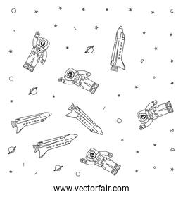 pattern of astronauts suits with space shuttles and stars
