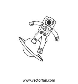 astronaut suit in planet saturn isolated icon