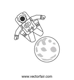 astronaut suit jumping in moon isolated icon