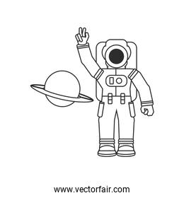 astronaut suit with planet saturn