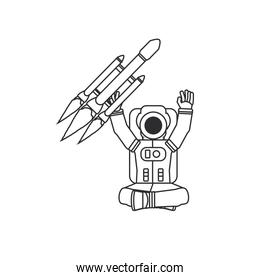 astronaut suit seated with rocket isolated icon
