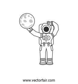 astronaut suit with moon isolated icon