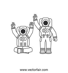 group of astronauts suits isolated icon