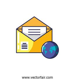 envelope mail open with planet earth