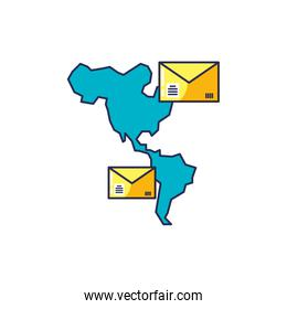 envelopes mail with american continent map