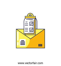 envelope mail with checklist clipboard