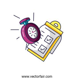 chronometer time with checklist clipboard