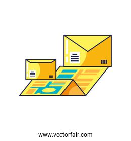 envelopes mail with map guide location
