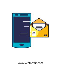 smartphone with envelope mail in screen
