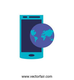 smartphone device with planet earth