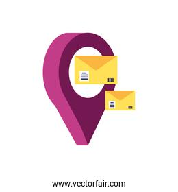 envelopes mail with pin location