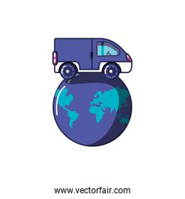 van vehicle transportation with planet earth