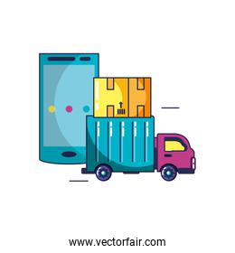vehicle truck transport with box and smartphone