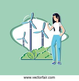 young woman with windmill in eco friendly scene
