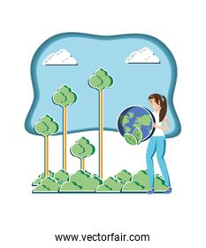 young woman with world in eco friendly scene