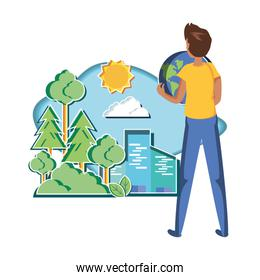 young man with world in eco friendly scene