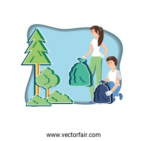 young couple with eco friendly scene