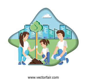 family planting with cityscape in eco friendly scene