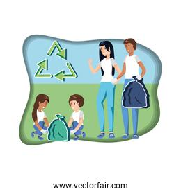 family with bags recycling in eco friendly scene