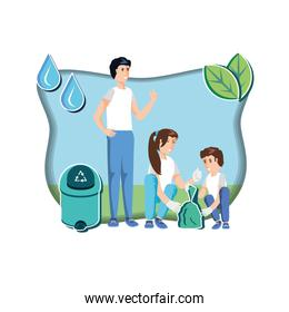 family with waste garbage recycling in eco friendly scene
