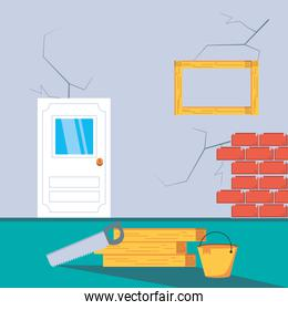 interior of house under construction with tools