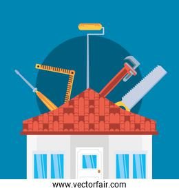 facade of house construction with set tools