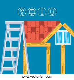 facade house in wooden under construction with icons set of tools
