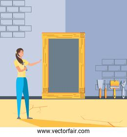 female in interior of house under construction