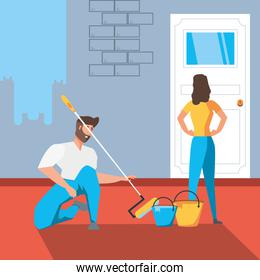 couple in interior of house under construction