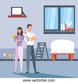 couple in interior of house and icons