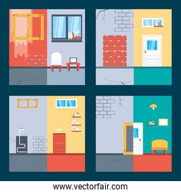 set of before and after houses under constructions