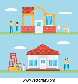 couple with set of facades houses under construction