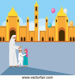 old islamic man with family in mosque