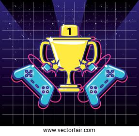 cup trophy of video gamer retro with controls